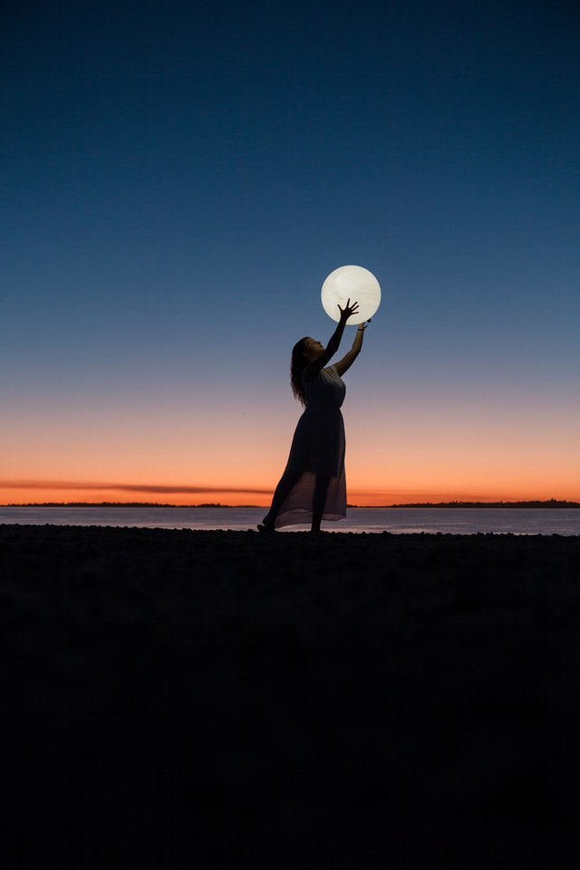 Lonely girl caught the moon images for whatsapp dp