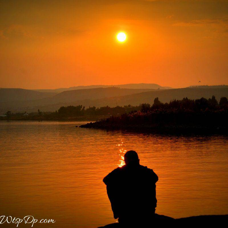 The lonely boy in beautiful sunset image for whatsapp dp