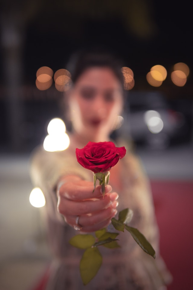 Beautiful girl offering rose image download for whatsapp dp